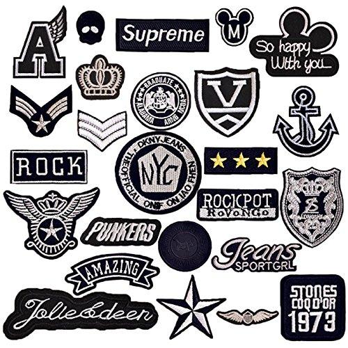 Tesan - Parche bordado termoadhesivo para planchar o coser, 25 unidades, diseño vintage, para vestidos, camisetas, vaqueros, prendas, bolsos