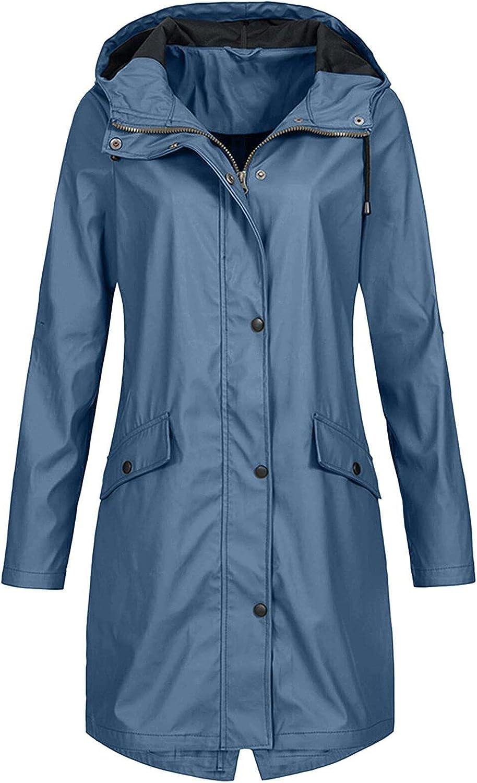 LIULIU Women Light Rain Jacket Waterproof Active Outdoor Trench Raincoat with Hood Lightweight Windbreaker Plus Size for Girl