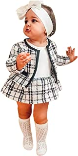 Fabal Dress Country Dresses Sleeves,Toddler Kids Baby Girls Plaid Coats Jacket Skirt Knit Crochet Sweater Clothes