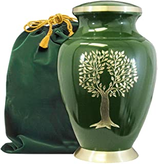 Tree of Life Classy Adult Green Urn for Human Ashes - Beautiful, Classic Green and Gold Large Urn Honors Your Loved One - ...