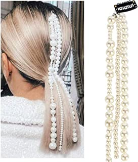Aimimier Pearl Hair Extensions Chain Bridal Hairband Multi-strand Hair Chain Accessories for Women and Girls