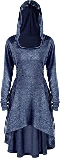 Phyhrt Women's Casual Pullover Hoodie Dress Long Sleeve Lace Up Vintage Pullover High Low Hoodie Dress Cloak