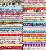 Liuliu 花柄プリント 生地 可愛い はぎれセット DIY 手芸用 布 素材 パッチワーク 給食袋 ポーチなどの作りに (50枚 30cm x 30cm)