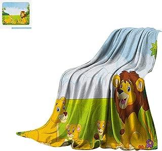 Nursery Throw Blanket Cartoon Style Lion Family in The Forest Africa Savannah Safari Habitat Print Artwork Image 80