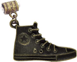 High Top Sneaker Star Shoe Bronze Tone Brown Dangle Charm for European Bracelets Jewelry Making Supply by Wholesale Charms