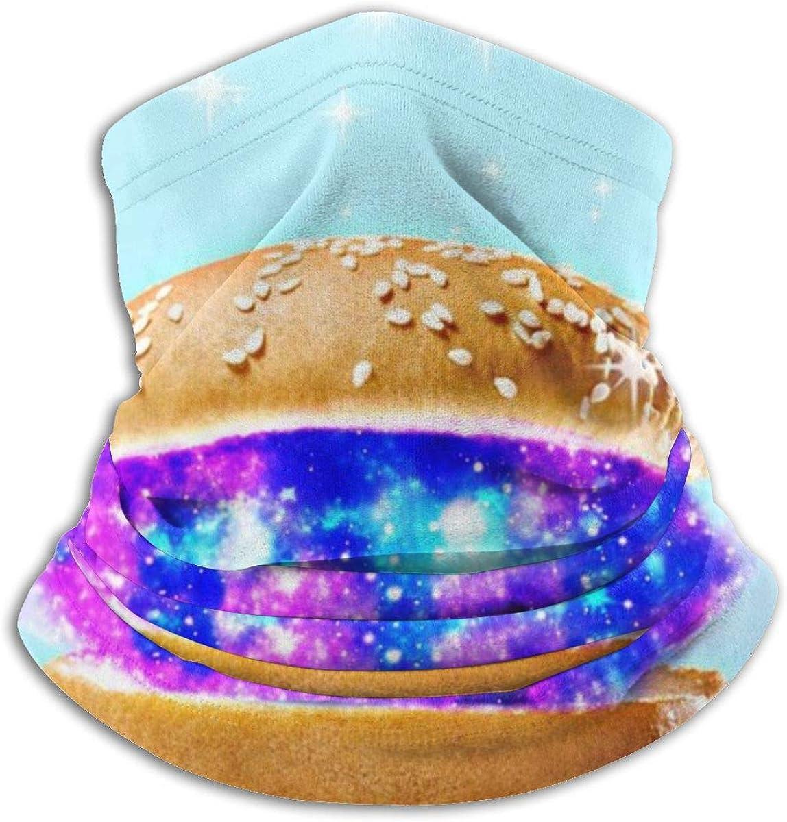 CLERO& Scarf Fleece Neck Warmer Galaxy Hamburger Stars Windproof Outdoor Headwear Comfortable Neck Gaiter Warmer Face Mask for Cold Weather Winter Outdoor Sports