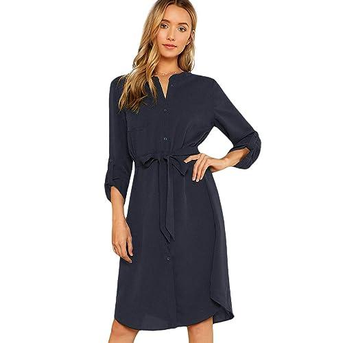 f745835949de Milumia Women's Roll Tab Sleeve High Waist Belted Shirt Dress with Pocket