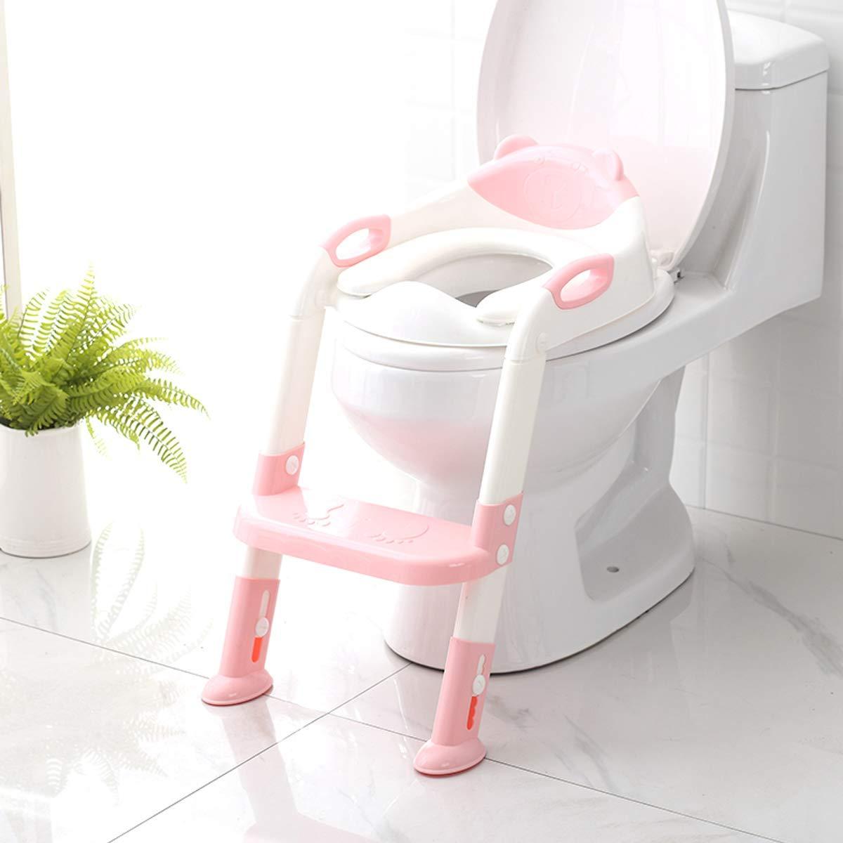 DZJ Asiento de Entrenamiento para IR al baño con Escalera de Taburete, cómodo Asiento para IR al baño Seguro con Almohadillas Antideslizantes Escalera/Inodoro de baño para niños Niños Niñas,Rosado: Amazon.es: Hogar