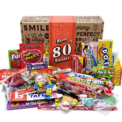 Image of the VINTAGE CANDY CO. 80TH BIRTHDAY RETRO CANDY GIFT BOX - 1940 Decade Nostalgic Childhood Candies - Fun Gag Gift Basket for Milestone EIGHTIETH Birthday - PERFECT For Man Or Woman Turning 80 Years Old