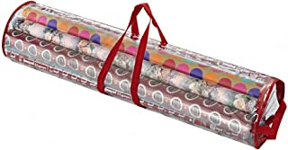 Primode Wrapping Paper Storage Bag Organizer for All Your Gift Wrap & Ribbons, Fits Long 40 Inch Rolls, Hold Up to 24 Rolls, Heavy Duty Clear PVC Bag with Top and Side Handles(Red)