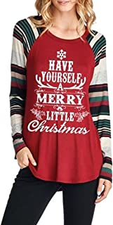 Women Christmas Letter Printed Raglan Striped Long Sleeve Shirts Holiday Tunic Tops