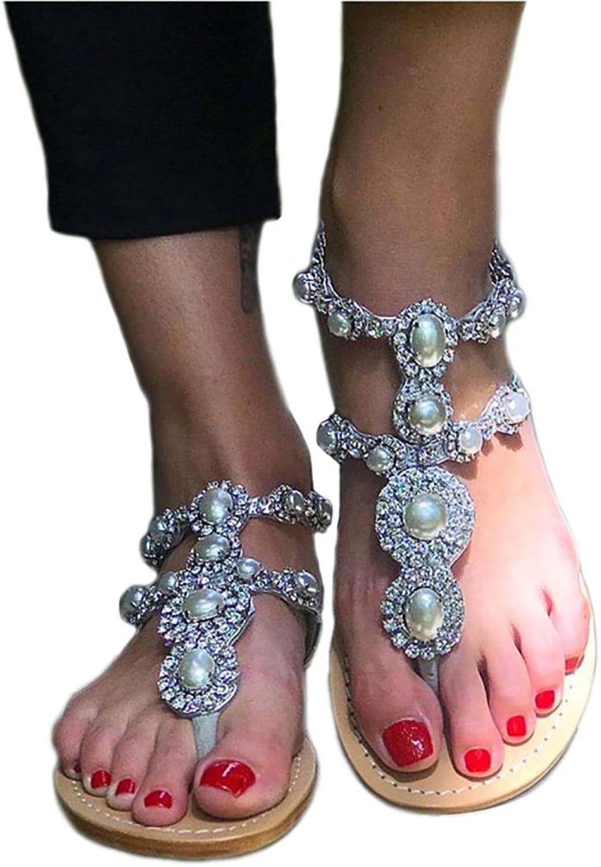 Azmodo Women's Rhinestones Pearl T-Tied Flats Sandals