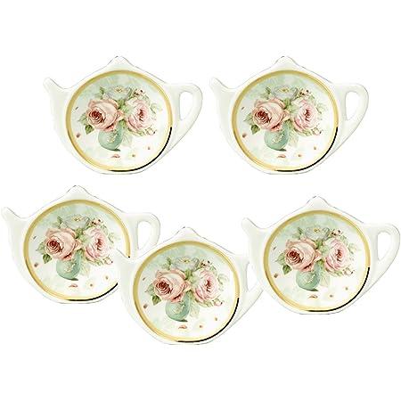 Set of 2 World Market Vintage Tea Tin Ceramic Tea Bag Rest Holder