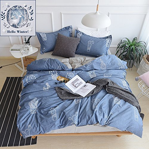 BuLuTu Cactus Print Kids Duvet Cover Set Twin Navy Blue for Boys Girls Cotton Bedroom Bedding Set Zipper Closure (1 Duvet Cover + 2 Pillowcases)