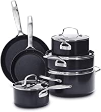 GreenPan SearSmart Hard Anodized Healthy Ceramic Nonstick, Cookware Pots and Pans Set, 10-Piece, Black