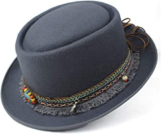 SAIPULIN-AU 2019 Men's and Women's Flat Top Cap Fedora Ms. Fascinator Casual Wild Style British Style Top Hat Fedora Hat Gentleman Daddy Church Hat (Color : Gray, Size : 58)