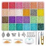 Queta Abalorios para Hacer Pulseras, Cuentas de Colores 2mm, 24 Colores Mini Cuentas de...
