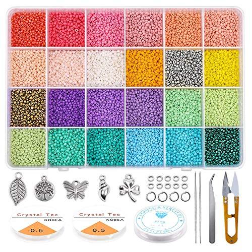 Queta Abalorios para Hacer Pulseras, Cuentas de Colores 2mm, 24 Colores Mini Cuentas de Cristal,para Hacer Collares Pulseras Regalo para Niños,Alrededor de 19200pcs