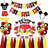 Mickey Mouse Birthday Party Supplies Decorations, Glittery Mickey Happy Birthday Banner Cake Cupcake Topper, Mickey Welcome Sign Door Hanger, Mickey Ears Headband, 12' Latex Balloons First Two Three Bday
