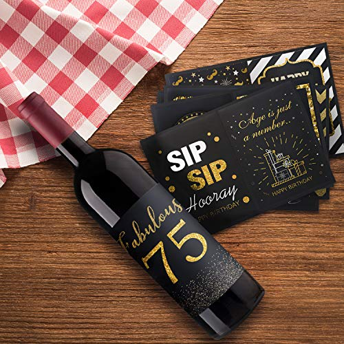 Happy 75th Birthday Wine Bottle Label Stickers