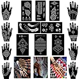XMASIR Henna Tattoo Stencils Reusable for Women and Girls,Indian Arabian Temporary Tattoo Templates Kit,Self-Adhesive Flower Feather Tattoo Stickers for Body Art Paint(Pack of 16 Sheets)