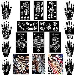 professional 16 Xmasir Set Henna Tattoo Stencil / Template Temporary Tattoo Kit, Indian Arabic Self …