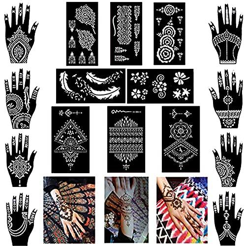 Xmasir Pack of 16 Sheets Henna Tattoo Stencil/Templates Temporary Tattoo Kit,Indian Arabian Self Adhesive Tattoo Sticker for Hand Body Paint