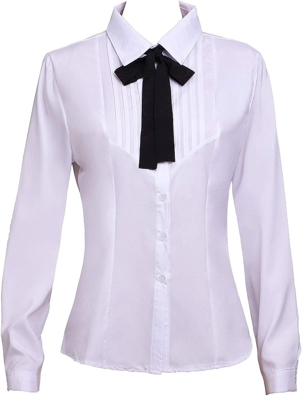 Yiluweinir Women's Movable Bow Tie Neck Button Down Shirts Ruffle Long Sleeve Chiffon Shirts Blouse Tops