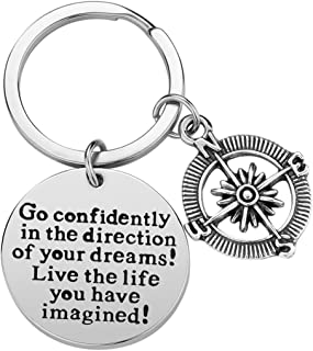 7-Almond Inspirational Keychain Gifts - Go Confidently in The Direction of Your Dreams Live The Life You Have Imagined Compass Jewelry Graduation Gift Birthday Gift