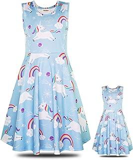 ModaIOO Matching Dolls & Girls Dress,Unicorn Mermaid Butterfly Sleeveless Dresses for Kids,18