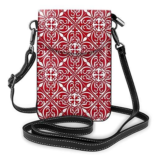 Multifunctionele lederen telefoontas, lichtgewicht kleine schouder Crossbody tas met verstelbare riem voor vrouwen - Marokkaanse tegel donkerrood en wit