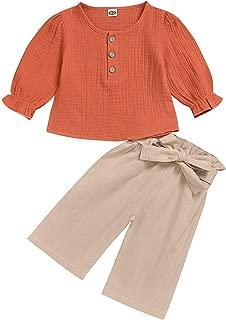 Arleysh Baby Girl Autumn Pants Set Cotton Linen Long Sleeve Shirt + Flared Pants Outfits
