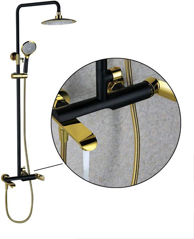 SJSF L Schwarzes Gold 8 Regen Duschsystem Duschkopf Dusche Mischbatterie in Wand Bad Dusche Wasserhahn Messing Rotation Badewanne Auslauf 3-Mglichkeiten Mit Handbrause,schwarz