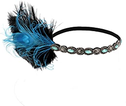 dressfan Vintage Flapper Kleid Quaste Feder mit kleinen Diamanten Kopfschmuck Stirnband Cocktail Party Pferde Mädchen Frauen bunt