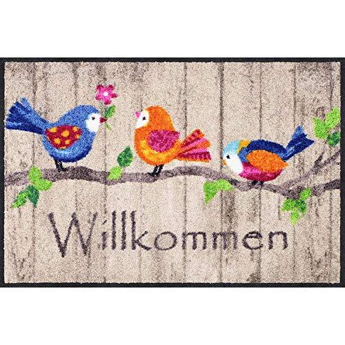 Salonloewe Birds Wood Fußmatte 50 x 75 cm SLD1881-050x075 Fußabtreter, Türmatte, Schmutzfangmatte, Schmutzfänger, Küchenteppich