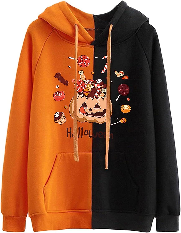 AODONG Women's Long Sleeve Hoodie Sweatshirt, Halloween Cute Funny Pumpkin Hoodie Sweatshirt Pullover Tops Plus Size