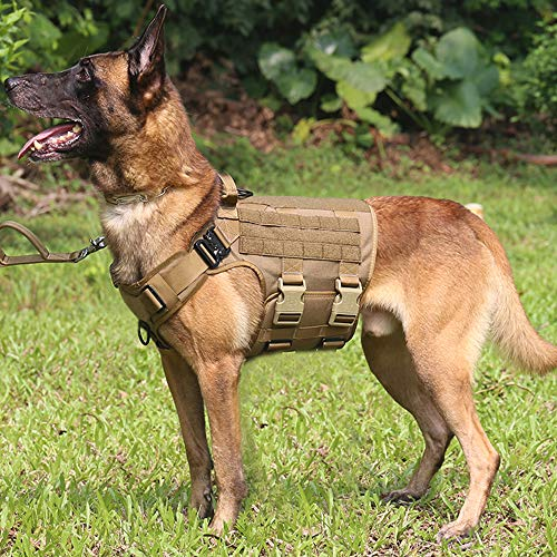 ICEFANG Tactical Dog Harness ,Hook and Loop Panels for Patch,Working Dog MOLLE Vest with Handle,No Pulling Front Leash Clip,
