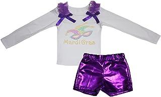 Petitebella Girls' Mardi Gras Mask White L/S Shirt Bling Short Set