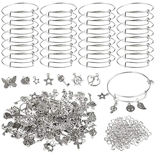 UPINS 30Pcs Silver Expandable Blank Bracelets Adjustable Wire Bangles with 100Pcs Tibetan Silver Charms, 200Pcs Open Jump Rings for Jewelry Making (Silver)