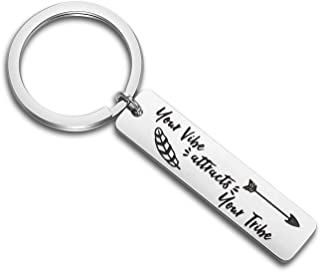 Vibe Jewelry Boho Gift Your Vibe Attracts Your Tribe Keychain Tribe Gifts Inspirational Gift
