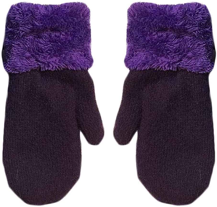 Panda Legends Women's Winter Gloves Warm Lining Mittens Cozy Woolen Gloves Mittens Cold Weather Accessories,Dark Purple