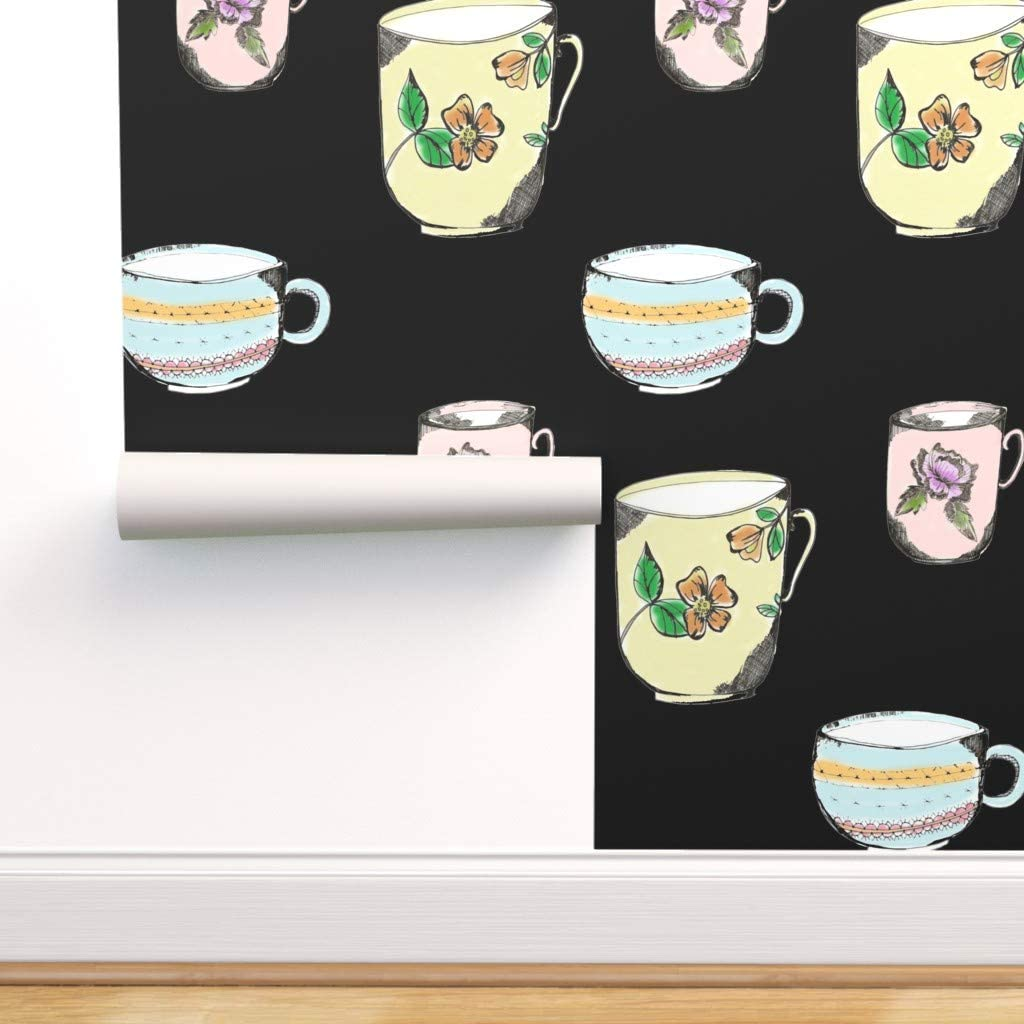 Ranking TOP7 Removable In a popularity Water-Activated Wallpaper - Tea On Black Cups Vintage