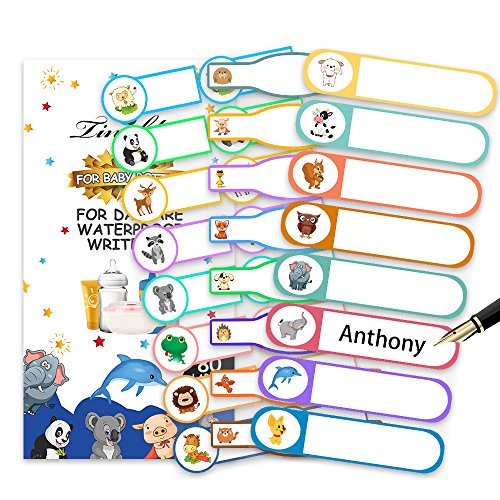 Baby Bottle Labels for Daycare, Tinabless Self-Laminating, Waterproof Write-On Name Stickers for School, Travel (Pack of 80)