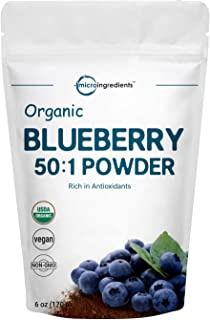 Sustainably Canada Grown, Organic Blueberry Extract 50:1 Concentrate Powder, 6 Ounce, Organic Vitamin C for Immune System ...