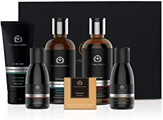 The Man Company Charcoal Grooming kit Set Of 6 - Body Wash-250ml, Shampoo-250ml, Face Scrub -100g, Face Wash-100ml, Cleans...