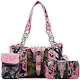 Cowgirl Trendy Western Style Camouflage Concealed Carry Purse Buckle Country Studs Women Handbag Shoulder Bag Wallet Set (Fuchsia Set), Large