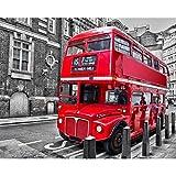 5D Pintura Diamante Bricolaje,Autobús Rojo Diamond Painting 30x40cm,Bordado Manualidades Punto de Cruz Manualidades para decoración de Pared