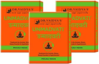 Dr. Vaidya's New Age Ayurveda   Unmadvati   Ayurvedic Pills For Anxiety, Stress, Sleep Disorders and Hypertension   24 Pil...