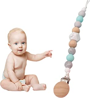 Pacifier Clip Holder Baby Teething Newborn Binkies Silicone Soothie Jollypop Natural Paci Clips for Girl Boy