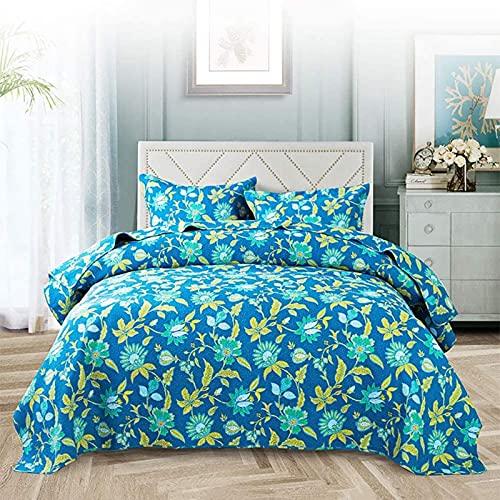 Colcha - Colcha, tamaño Queen, estilo americano, con estampado floral, 3 piezas, juego de cama, 100% algodón, edredón acolchado, manta de cuatro estaciones, funda de cama (230x250 cm) + 2 fundas de al